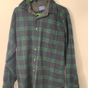 Green And blue Button Down Long sleeve